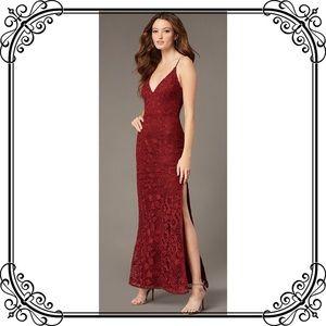 🆕NWT Classy Red Lace Spaghetti Strap Maxi Dress